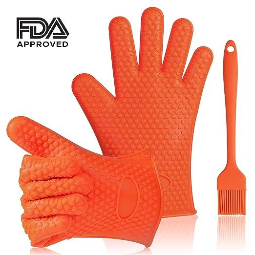 Doble Silicona Horno guantes con dedos, resistente al calor ...