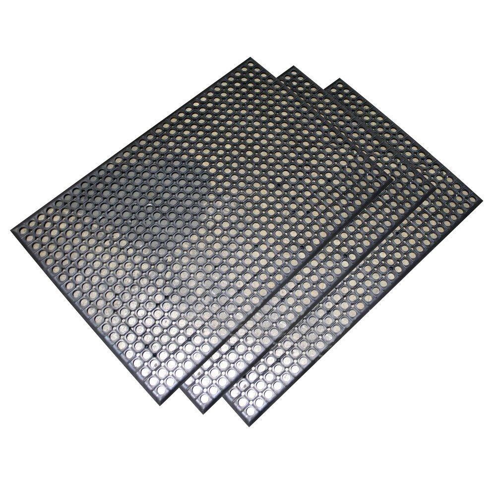 Buffalo Tools Heavy-Duty 24 in. x 36 in. Rubber Floor Mat in Black (3-Piece)