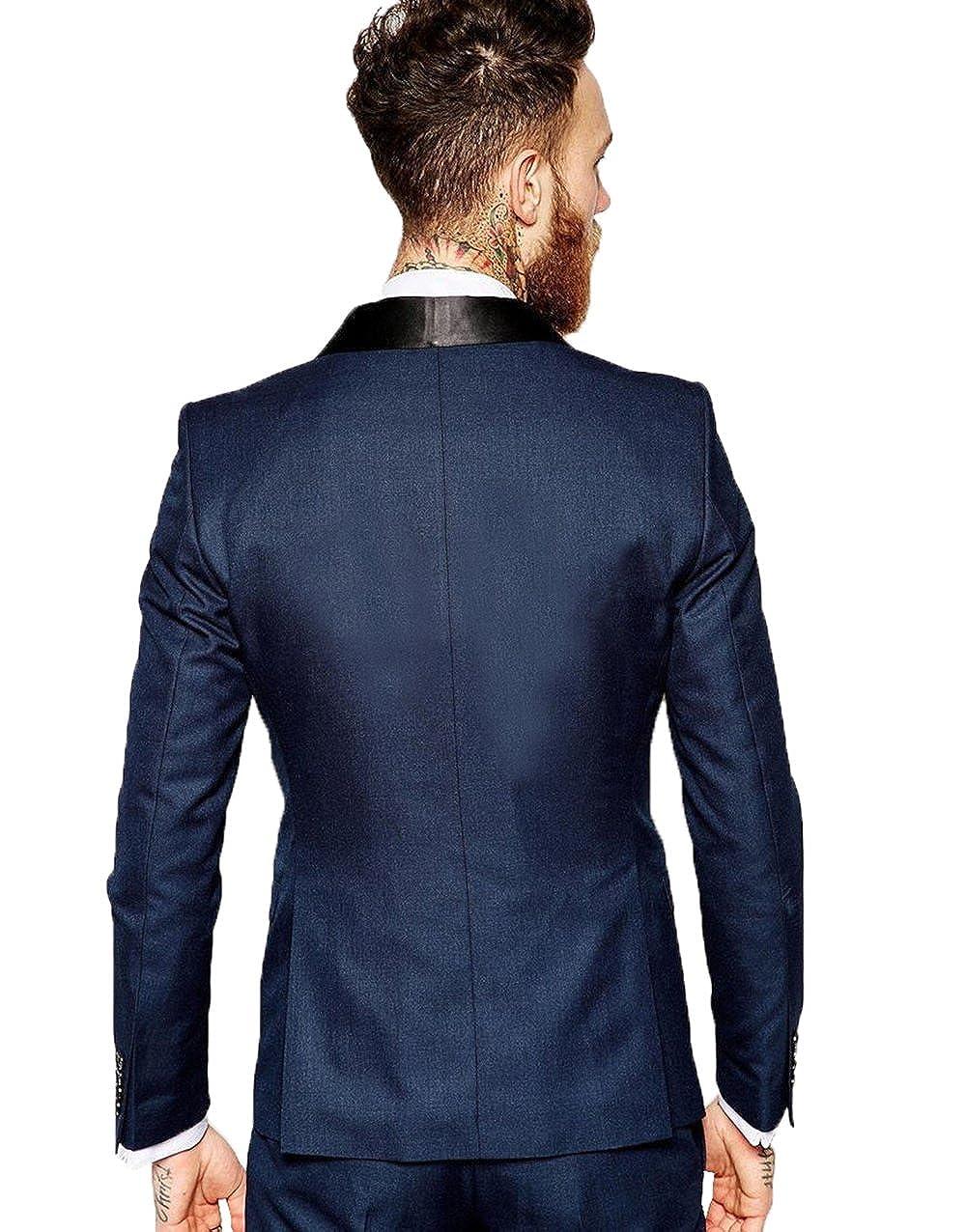 DingXuBao Mens Slim Fit One Button 3-Piece Suit Blazer Dress Suit Jacket Tux Vest /& TroX-Smallers