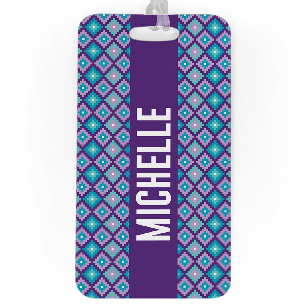 Personalized Geometric Diamonds PURPLE//TEAL Personalized Luggage /& Bag Tag MEDIUM Standard Lines on Back