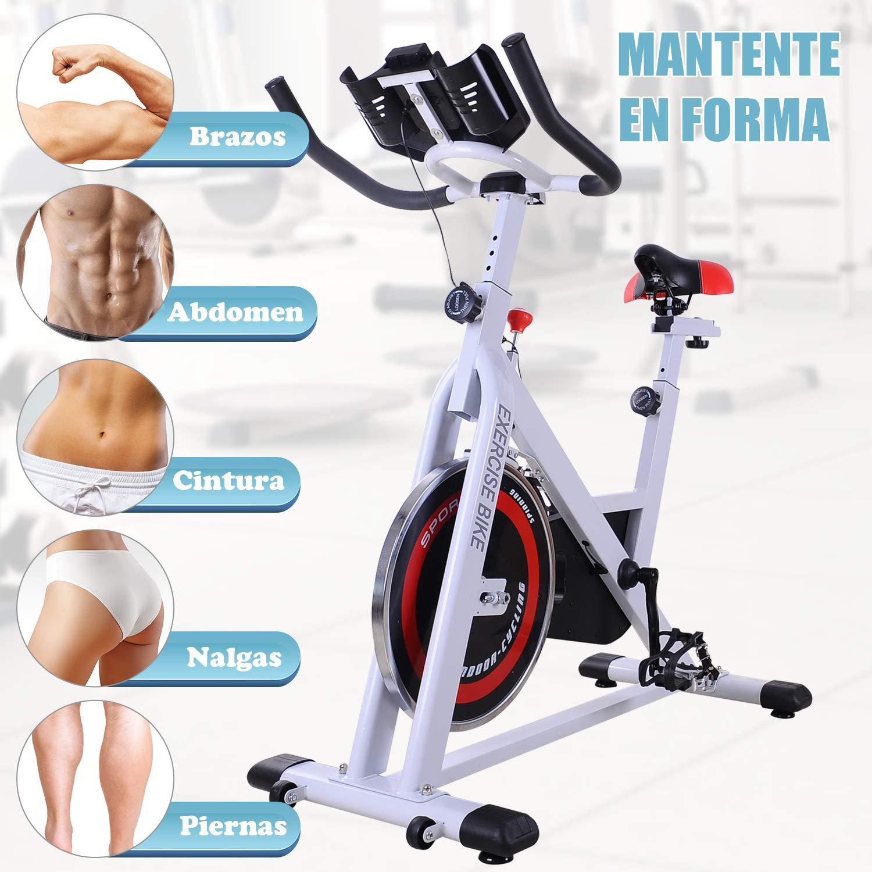 Homcom Bicicleta Estática de Spinning Bicicleta de Fitness Pantalla LCD Asiento y Manillar Ajustable Resistencia Regulable Carga 120kg 107x48x100cm ...