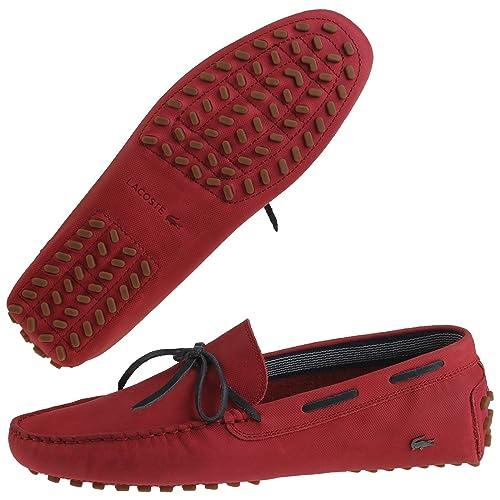 Lacoste - Mocasines de Cuero para Hombre Rojo Rojo: Amazon.es: Zapatos y complementos