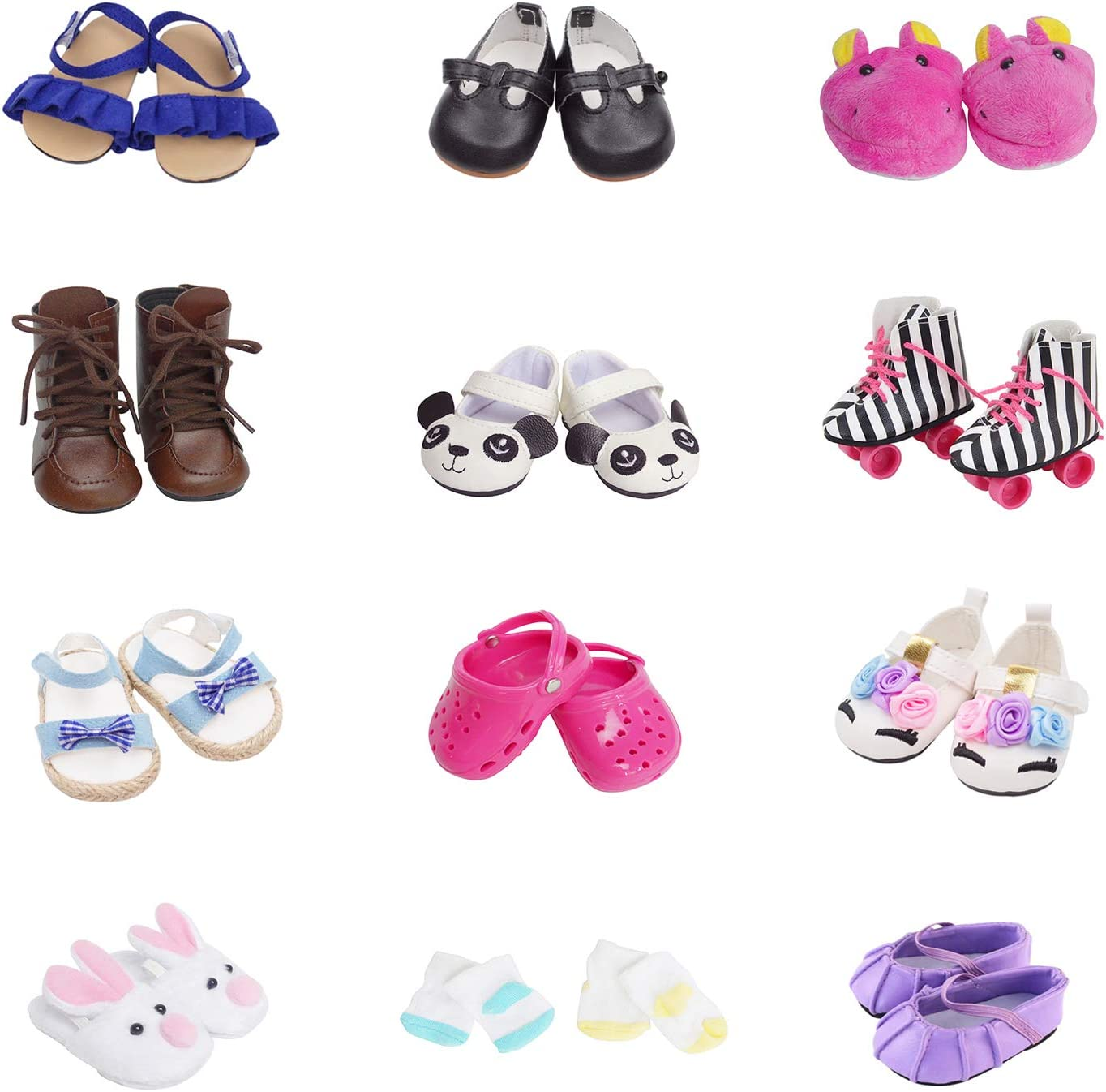 5 Pairs of Shoes + 2 Pairs of Socks Fits for 18 inch Doll Shoes American Dolls Accessories 100% Get Panda Shoes and Boots or Skates