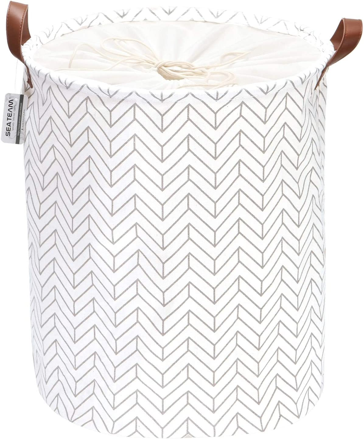 Sea Team Arrowhead Pattern Laundry Hamper Canvas Fabric Laundry Basket Collapsible Storage Bin with PU Leather Handles and Drawstring Closure, 19.7 by 15.7 inches, Waterproof Inner, Grey