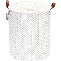 Sea Team Arrowhead Pattern Laundry Hamper Canvas Fabric Laundry Basket Collapsible Storage Bin with PU Leather Handles…