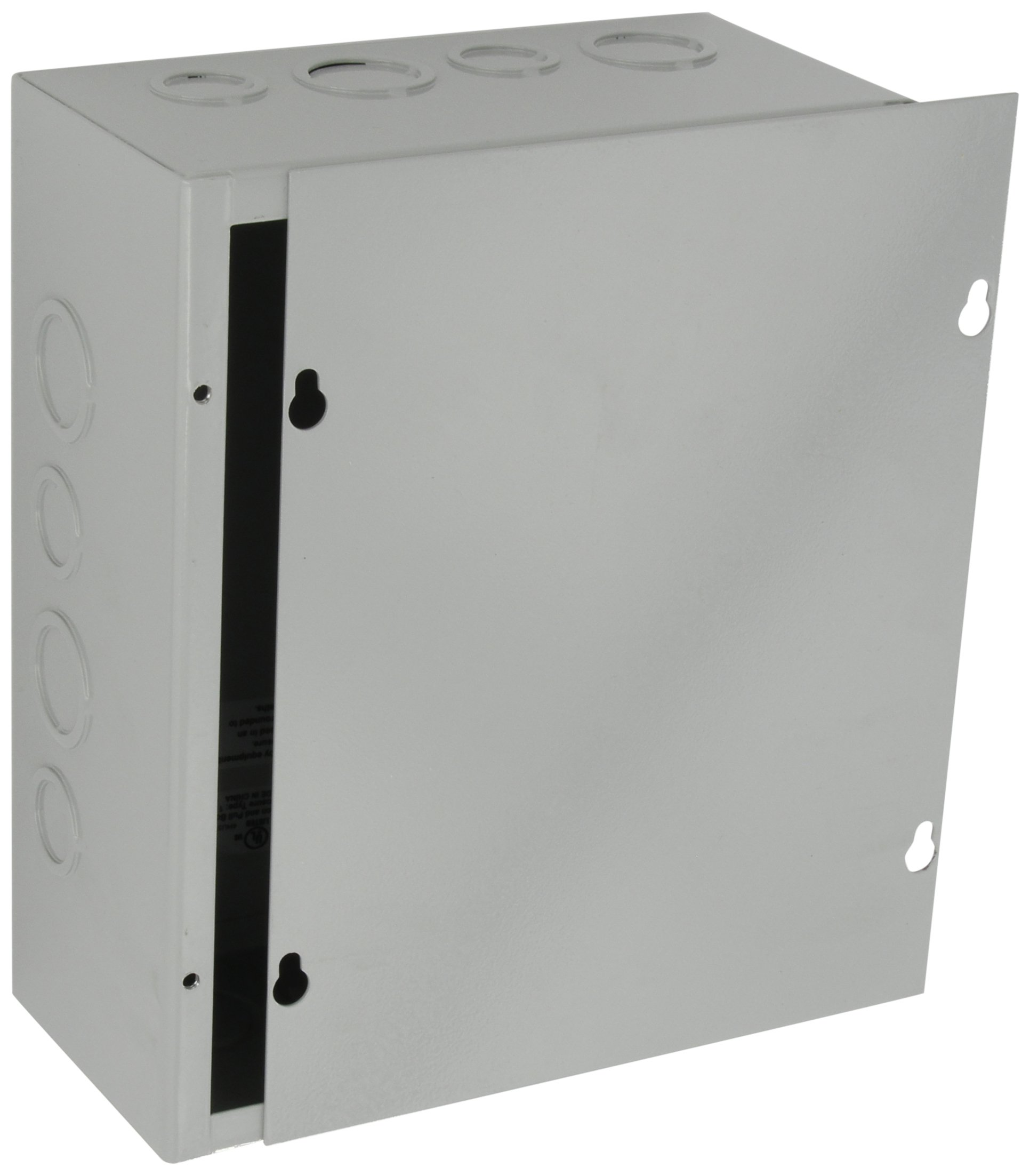 BUD Industries JB-3958-KO Steel NEMA 1 Sheet Metal Junction Box with Knockout and Lift-off Screw Cover, 8'' Width x 10'' Height x 4'' Depth, Gray Finish