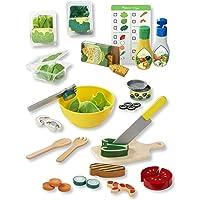 Melissa & Doug Juego de preparar y mezclar ensaladas, juego de imitación, pestañas autoadhesivas, menú reutilizable de doble cara, 52 piezas 30.48 cm alto × 40.64 cm ancho × 8.89 cm largo