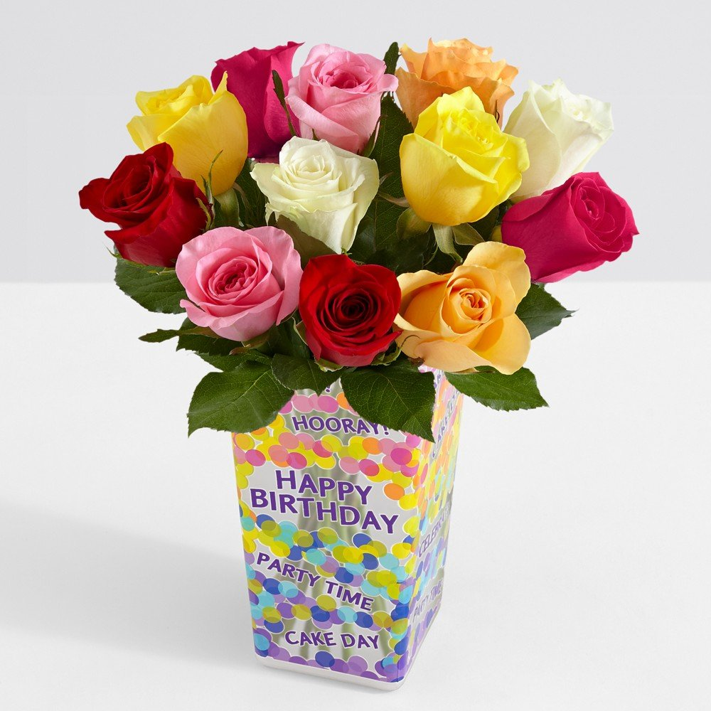 Amazon proflowers 12 count multi colored one dozen rainbow proflowers 12 count multi colored one dozen rainbow roses wfree clear vase reviewsmspy