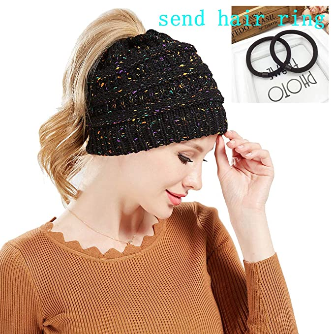 48ddabbc4e1d5f Image Unavailable. Image not available for. Color: GLBUY Confetti Ponytail  Beanie Winter Hats Women Stretch Knit Hats Caps Female Skullies Beanies ...