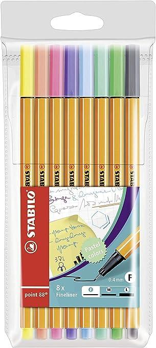 Rotulador puntafina STABILO point 88 - Estuche con 8 colores pastel: Amazon.es: Oficina y papelería