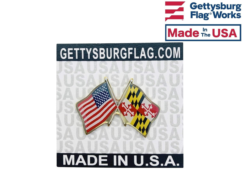 Crossed Flags Double Waving Friendship Lapel Pin Qty 1 Gettysburg Flag Works Maryland /& U.S