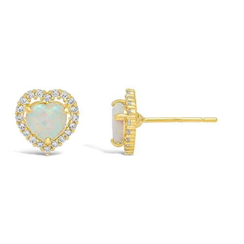 Lavari – Halo Heart 5MM Gemstone 14K Yellow Gold Stud Earrings