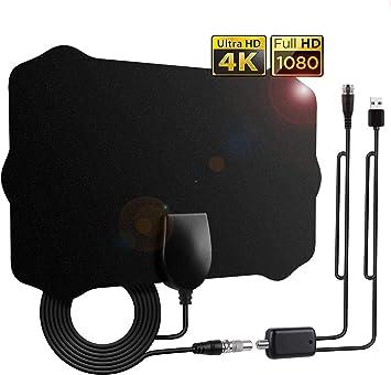 Antena TV Interior, Antena de HDTV con Amplificador Portátil 120 Millas de Señal y Cable Coaxial de 12.1 FT,Obtenga Muchos Canales de TV Gratis (TV ...