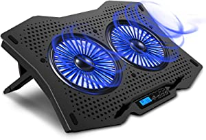 "AICHESON Laptop Cooling Cooler Pad for 15.6"" - 17.3"" Notobooks, Metal Panel, 2 Big Turbofans"