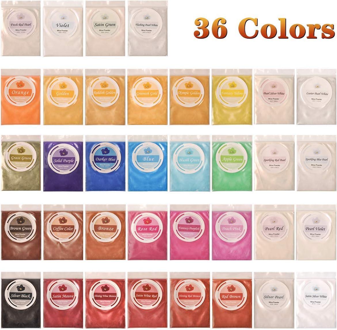 Seifenfarbe Set Mica Pulver Pigmentpulver Farbpigmente f/ür Epoxidharz Epoxy Resin Harz Metallic Farben Pigment DEWEL Epoxidharz Farbe ca.36 * 5g