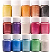 Mica Powder, 15 Colors Pearl Powder Resin in Bottle, Pigment Supplies for Paint/Soap Making/Bath Bomb DIY/Candle Making…