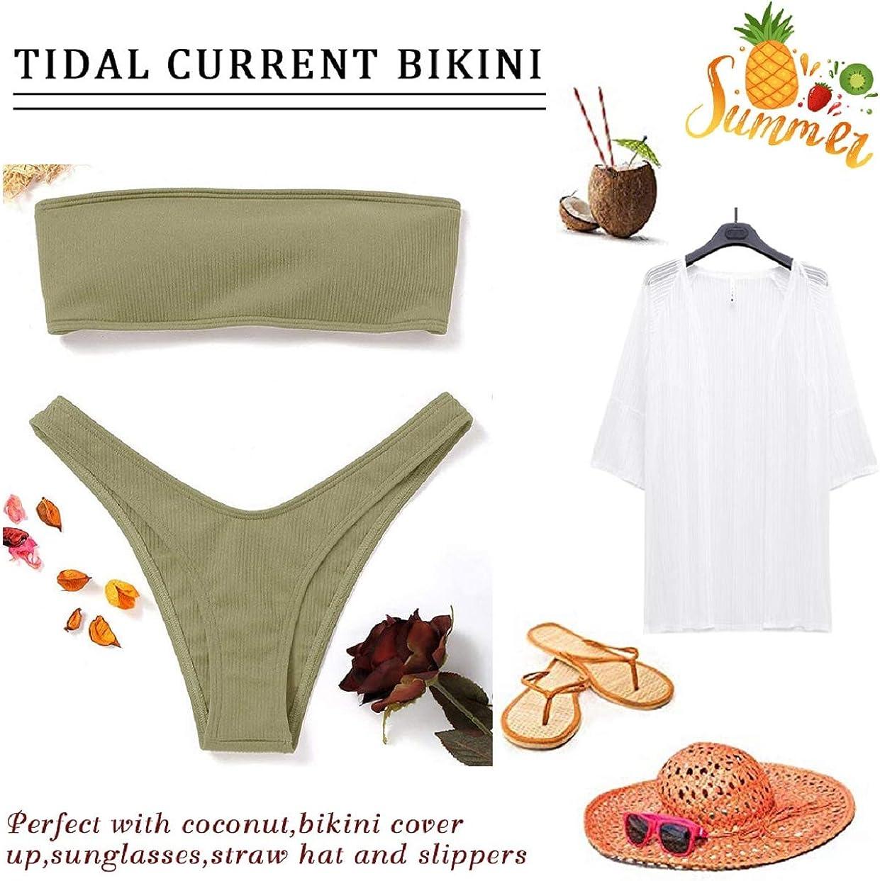 Tuopuda Bikini Donna Imbottito Tinta Unita Slip Costume da Bagno Vita Bassa Set Bikini Swimsuit Beachwear