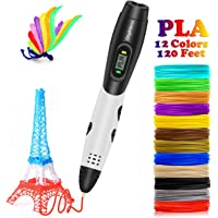 DigiHero 3D Pen with LCD Screen, Toys for Kids 3D Pen with 1.75mm PLA Filament Pack of 12, Each Color 10 Feet, 3D Print Pen is for Kids, Adults