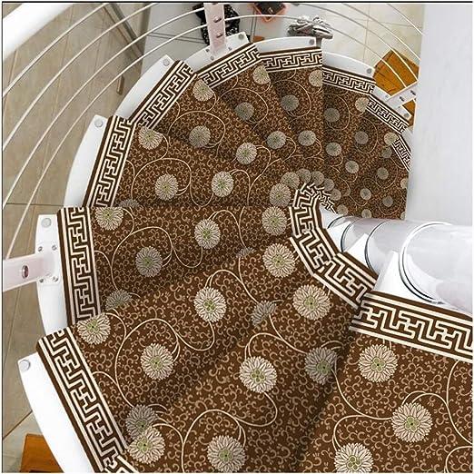 Alfombras de escalera Autoadhesivo Huellas De Escalón Mats Cojín Antideslizante Paso Cojín Escalera De Caracol Estilo De Protección De La Manta De La Cubierta De La Escalera De Alfombras Europea casa: Amazon.es: