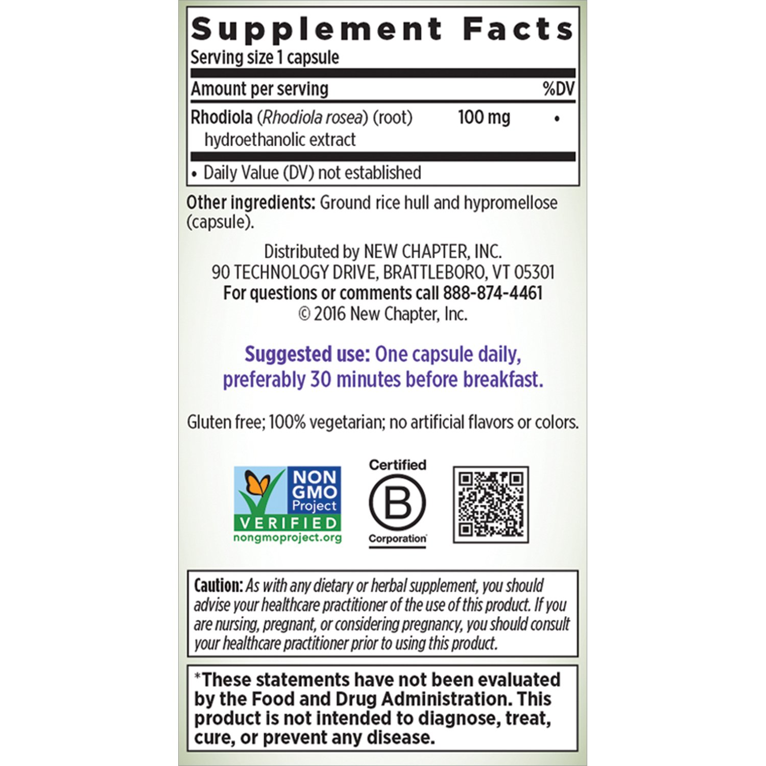 New Chapter Rhodiola Force 100mg with Potent Rhodiola for Endurance + Mood  Support + Stress