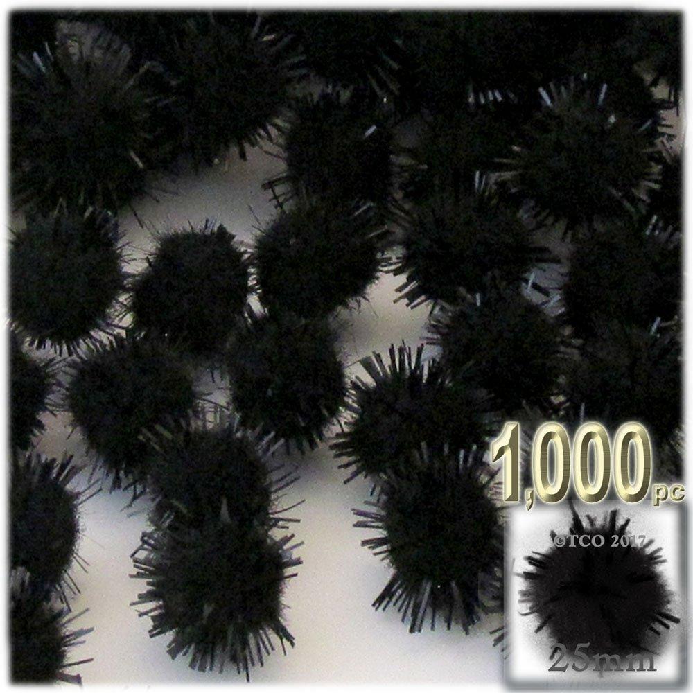 The Crafts Outlet Chenille Sparkly Pom Poms, Black porcupine, 1.0-inch (25-mm), 1000-pc, Black