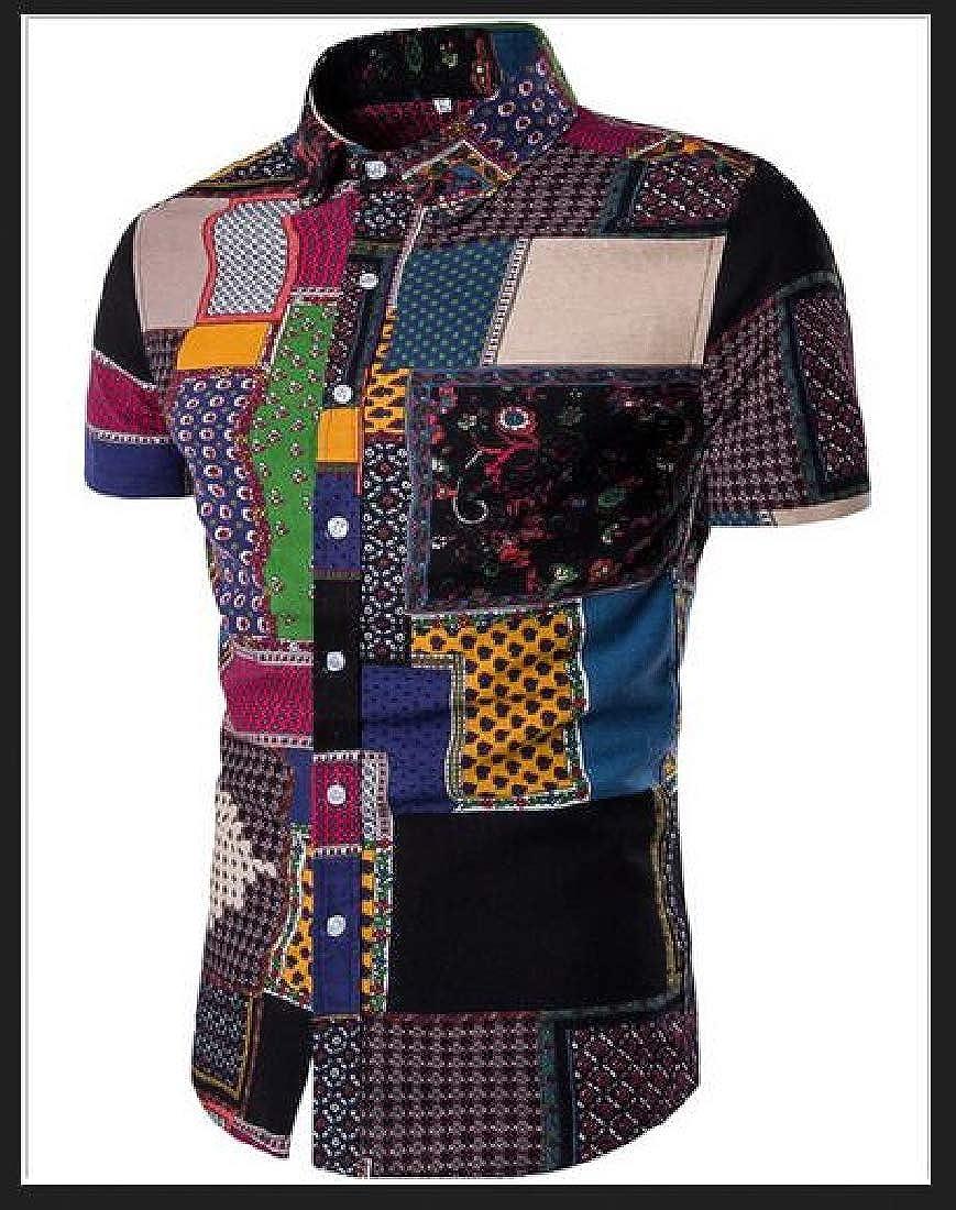 UUYUK Men 2 Pieces Outfits Shirt /& Beach Shorts Summer Ethnic Print Tracksuits