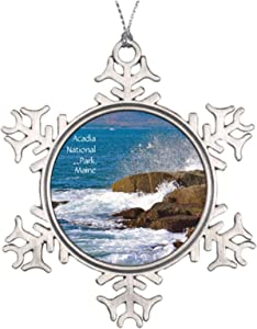 Christmas Ornaments, Acadia National Park Pewter Ornament, Snowflake Ornament Tree Hanging Decor Gift,3 Inch