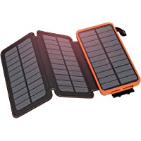 Hiluckey Cargador Solar 24000mAh, Portátil Power Bank con 3 Paneles Solar 2 USB 2.1A Output Impermeabl Batería Externa para iPhone, iPad, Samsung, Smartphone