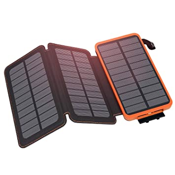 Hiluckey Cargador Solar 24000mAh, Portátil Power Bank con 3 Paneles Solar 2 USB 2.1A Output Impermeabl Batería Externa para iPhone, iPad, Samsung, ...