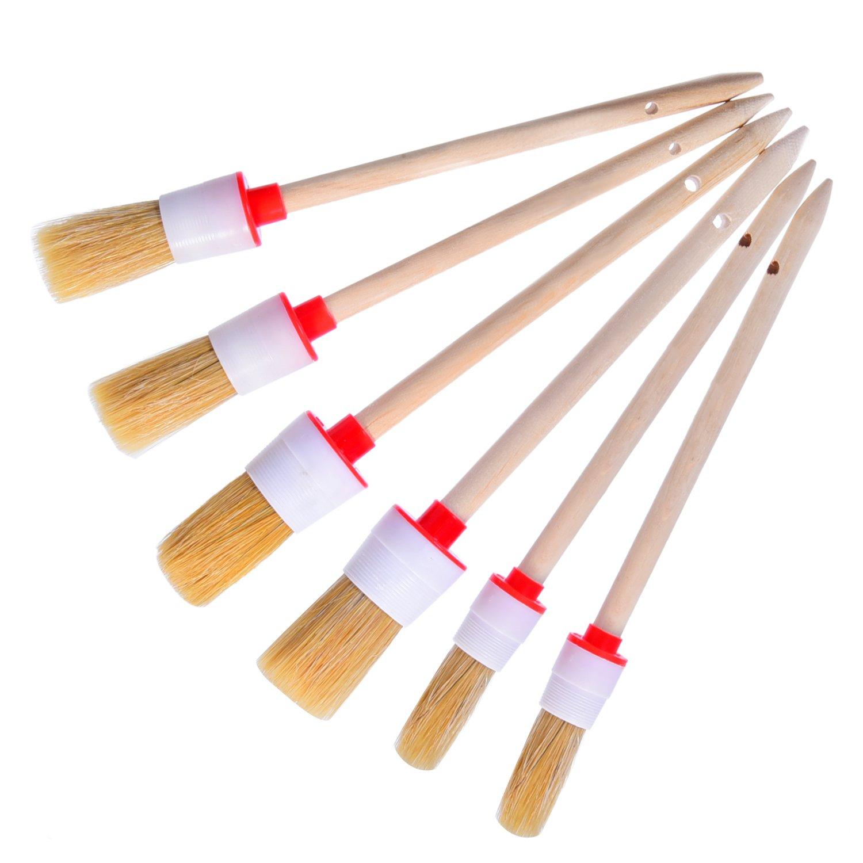 6 Piezas Cepillos de Detalle Cepillos de Limpieza Cepillos de Cerda Suave para Limpieza de Coche Ruedas Tablero de Instrumentos Interior Exterior Cuero Emblemas de Ventilació n Shappy