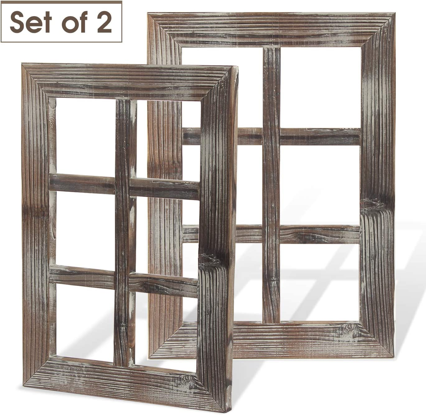 J JACKCUBE DESIGN Rustic Wood Window Frame Set of 2 Farmhouse Wall Decor Window Picture Frames for Living Room Bedroom Kitchen Home Decorations - MK579A
