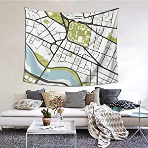 ANNBITION Tapestry Funny Clean Harvard University Massachusetts Outline Map Wall Hanging Home Decor for Living Room Bedroom Dorm Room 60 W X 51 H Inches