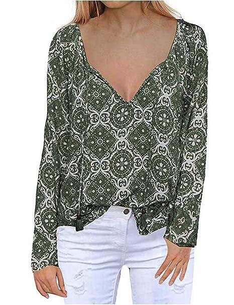 Amazon.com: Blusa de manga larga de gasa para mujer, cuello ...