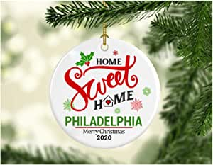 Christmas In Philadelphia 2020 Amazon.com: Christmas Decoration Tree Ornament State   Home Sweet