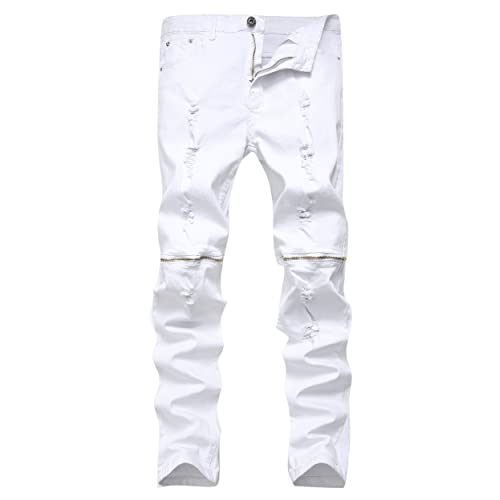 Qazel Vorrlon Mens Ripped Skinny Distressed Destroyed Straight Fit Zipper Jeans with Holes