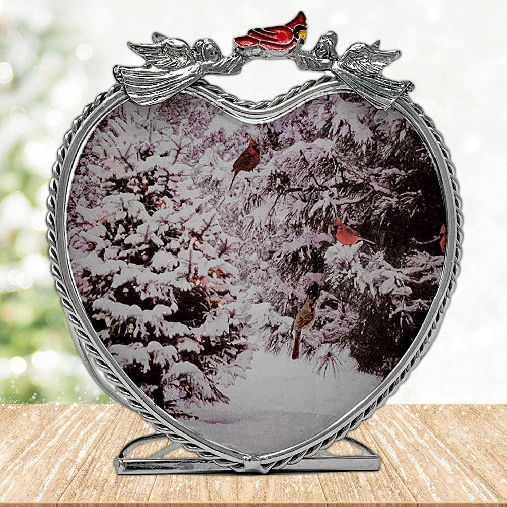 BANBERRY DESIGNS Cardinal Holiday Candle Holder - Winter Scene with Red Cardinals in a Snowy Forest - Glass Tealight Candle Holder Christmas Decor