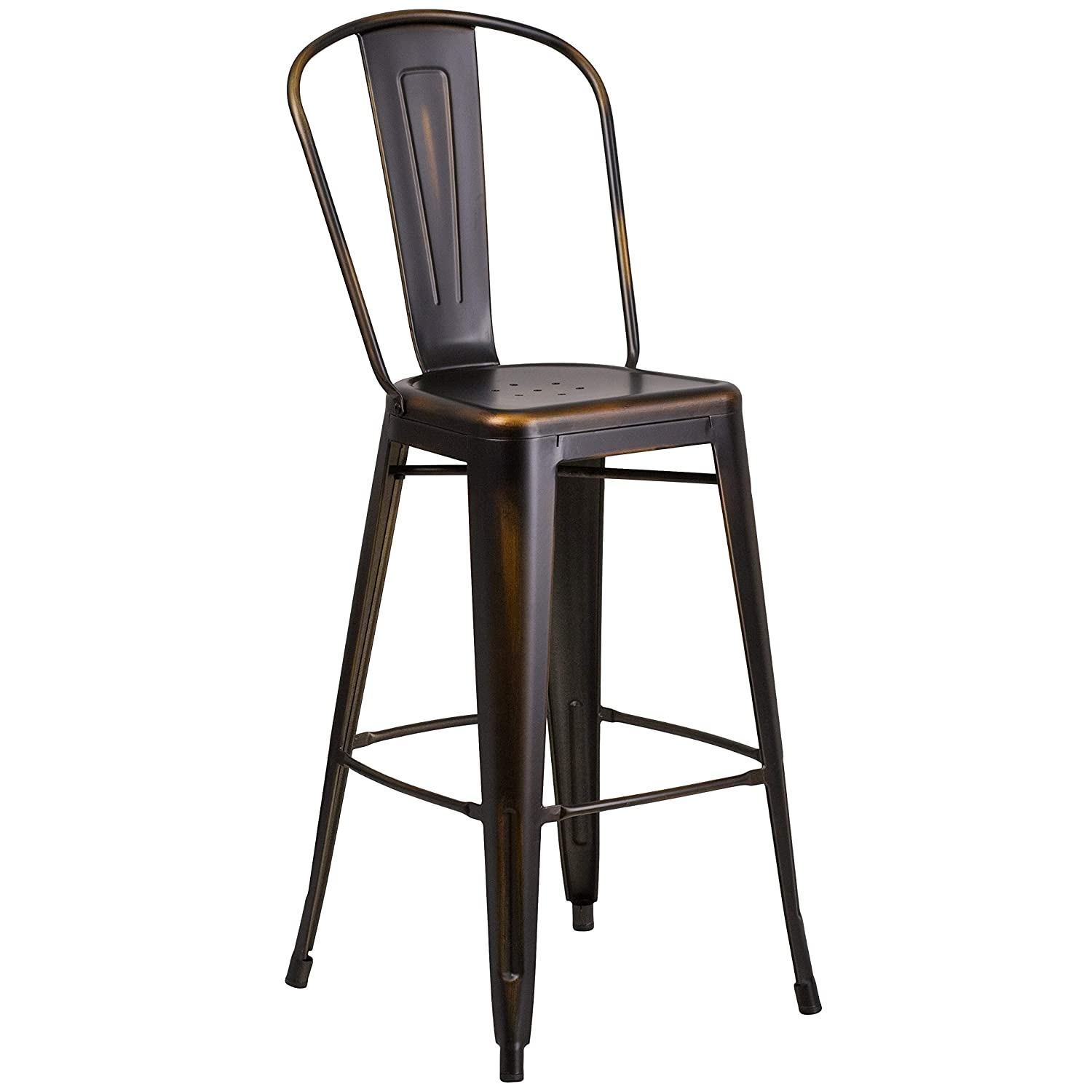 Flash Furniture 4 Pk. 30 High Distressed Copper Metal Indoor-Outdoor Barstool with Back