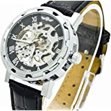 Voberry® Men's Brown Leather Luxury Skeleton Dial Hand-wind up Mechanical Wrist Watch (black)