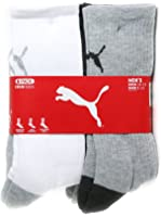 Puma Men's 1/2 Terry Crew, White/Grey/Black, 10-13 (Pack of 6)
