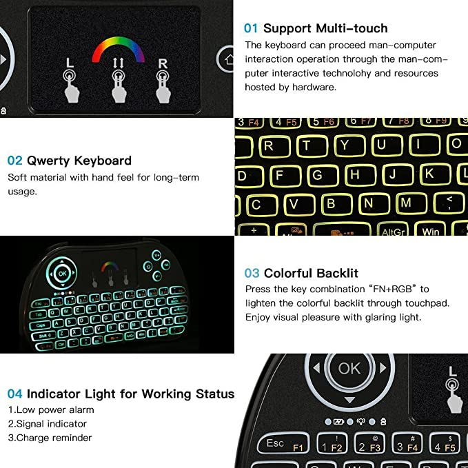 BigFox 2 4Ghz Mini Wireless Keyboard With Colorful LED: Amazon co uk
