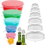 Holikme 16 Pack Silicone Stretch Lids Reusable Durable Fit Different sizes Silicone Covers for Bowls (White)