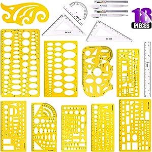 Swpeet 18Pcs Plastic Yellow Geometric Drawings Templates Kit, 10 Different Geometric Measuring Drawings Templates Stencils with 2Pcs Pencil and 5Pcs Measuring Ruler for Drawing Engineering Drafting