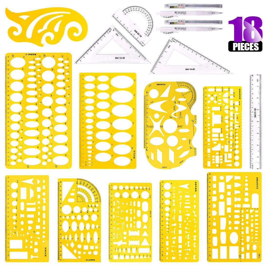 Swpeet 18Pcs Plastic Yellow Geometric Drawings Templates Kit, 10 Different Geometric Measuring Drawings Templates Stencils with 2Pcs Pencil and 5Pcs Measuring Ruler for Drawing Engineering Drafting by Swpeet