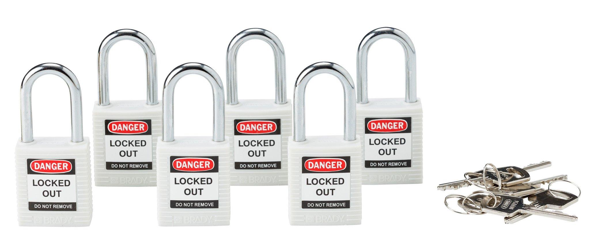 Brady 118925 White, Brady Keyed Different Safety PadLock (6 Locks)