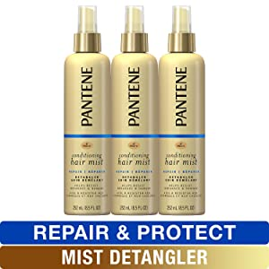 Pantene Conditioning Mist Detangler, Nutrient Boost, Pro-V Repair and Protect for Damaged Hair