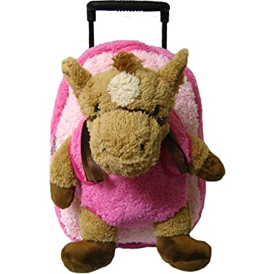 Kreative Kids Adorable Pink Horse Plush Rolling Backpack w/Shiny Eyes, Removable Stuffed Toy & Wheels