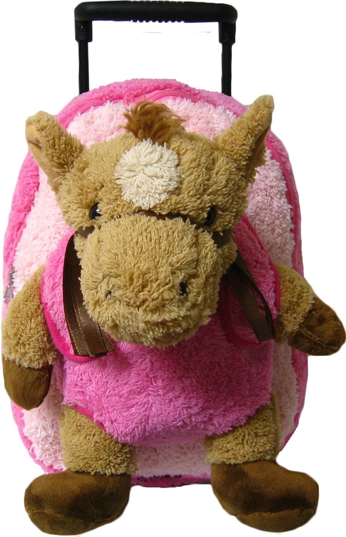 Amazon Com Pink Horse Kids Plush Animal Roller Backpack Kids