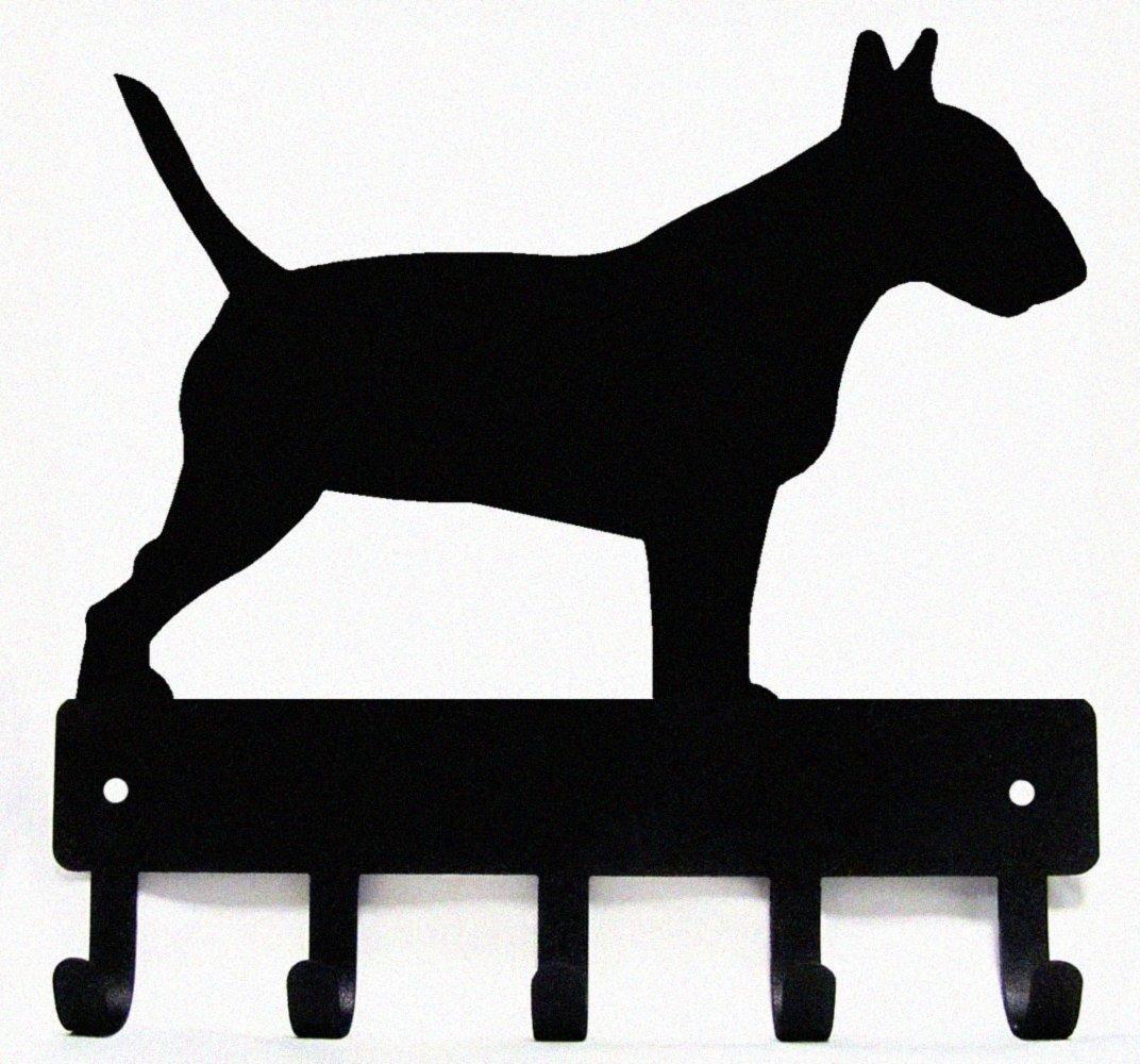 The Metal Peddler Bull Terrier Key Rack Dog Leash Hanger Small 6 inch wide