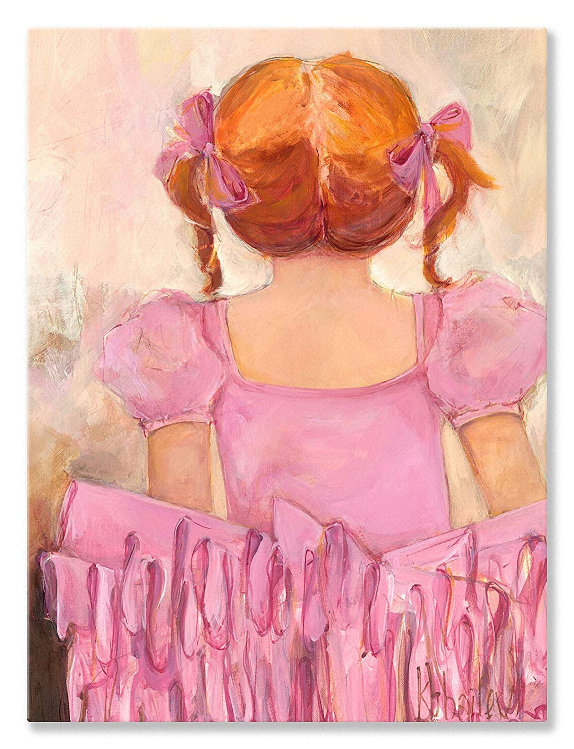 18 by 24Inch Oopsy Daisy Angelic Ballerina Red Hair Stretched Canvas Wall Art by Kristina Bass Bailey, 18 by 24Inch