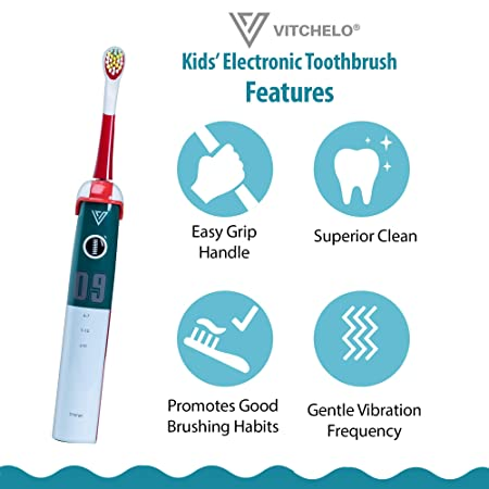 Amazon.com: VITCHELO Kids Electric Toothbrushes Rechargeable with Timer for Boys & Girls 4-7 & 8-12 YO - Toddler Electric Toothbrush Dual Voltage Great for ...